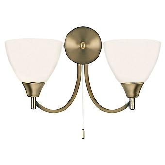 endon alton - 2 lys innendørs vegg lys antikk messing med opal glass, e14