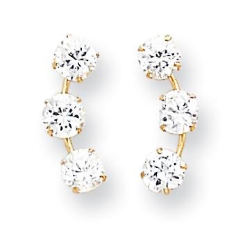 14k Ouro Amarelo Conjunto de ping polido curvo 3 pedra CZ Zirconia Cubícula Simulado Diamante Post Brincos Medidas 15x6mm Jewe