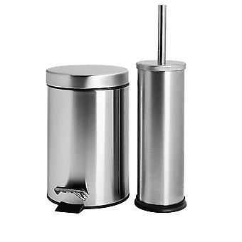 Bathroom Pedal Bin (3 Litres) and Toilet Brush Set - Matt Finish