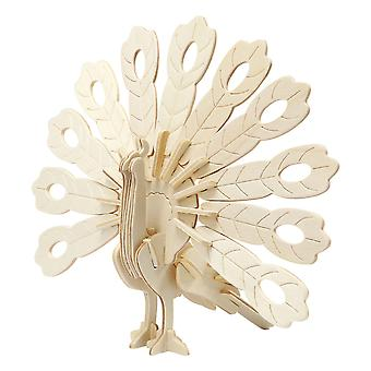 Childrens 3D Wooden Peacock 20cm Self Assembly Craft Kit