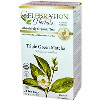 Celebration Herbals Organic Triple Green Matcha Tea, 24 Bags