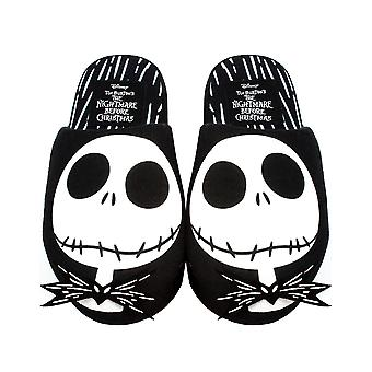 Disney The Nightmare Before Christmas Slippers For Women | Ladies Black & White Jack Skellington House Shoes | Polyester & Slip On With Grip Sole Disney Gifts