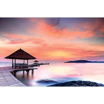 Wall mural wooden jetty at sunset