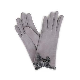 Powder Amelia Faux Suede Gloves | Pale Grey