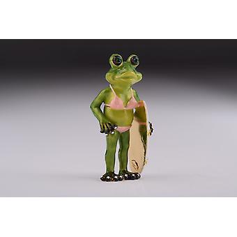 Frog Holding A Surfboard Trinket Box