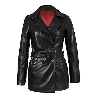 Carissa womens plus size black belted 3/4 long leather coat