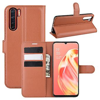 For OPPO A91 Litchi Texture Horizontal Flip PU Leather Case with Holder & Card Slots & Wallet(Brown)