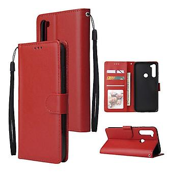 Stuff Certified® Xiaomi Redmi 5 Leather Flip Case Wallet - PU Leather Wallet Cover Cas Case Red