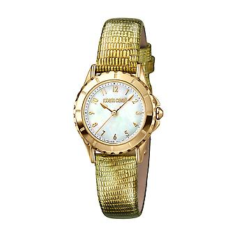 Roberto Cavalli Women's White Mother of Pearl Dial Gold Leather Watch