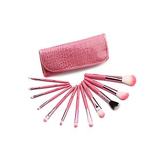 12 Make Up Børster Set - Dyr og Nylon Hår Aluminium Ferrule Naturtræ Håndtag Pink Pu Krokodille Taske