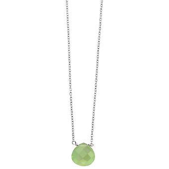 Anfänge Teardrop Chalcedon Halskette - grün/Silber