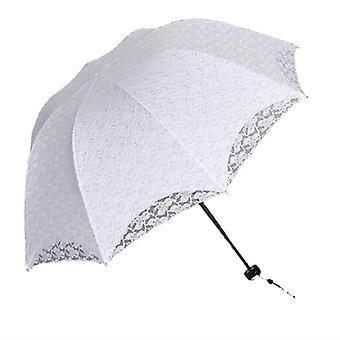 Sommer faltbare Spitze Regenschirme, Stahl Griff, Baumwollstickerei, Sonnenschirm Sonne