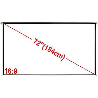 لوحة شاشة الإسقاط اليدوية 160x90cm 16:9 قوس سقف الجدار