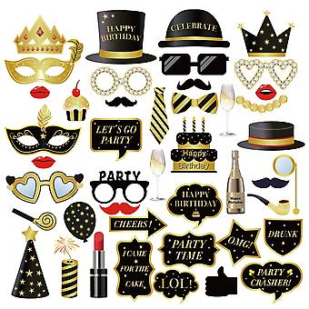 Birthday photo booth props, 44pcs funny birthday selfie props party props, suitable for 18th birthda