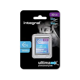 Integral 32gb cfast card 2.0 high performance with read speed up to 540mb/s and write speed up to 52