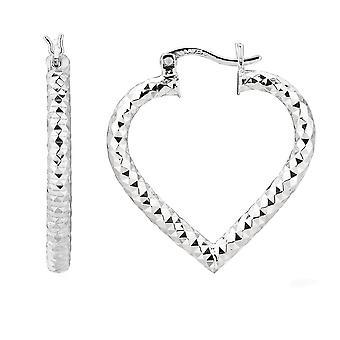 Sterling Silver Rhodium Plated  Heart Shape Hoop Earrings, Diameter 25mm