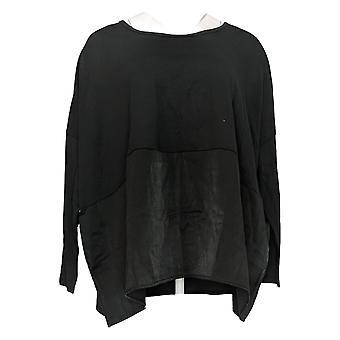 Anyone Women's Top Cozy Knit Oversized Top w/ Satin Trim Black A367657