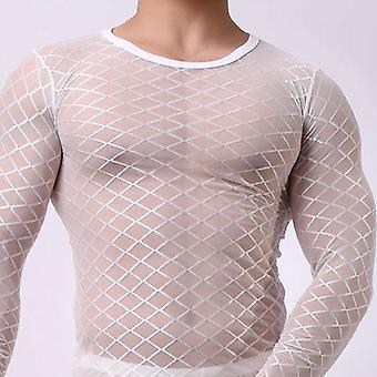 Σέξι πλέγμα διαφανή sleepwear μακρύ μανίκι εξωτικό πλέγμα singlet fishnet καθαρή