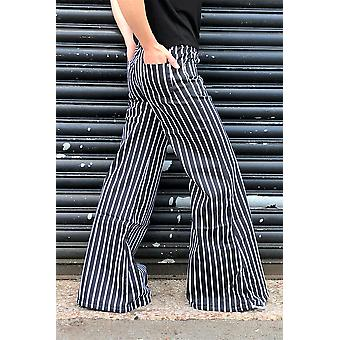 Striped Wide Bellbottoms Flares - Black & White