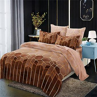 Geometry Gilt Printed Duvet Cover Set, Brief Quilt Covers With Pillowcase