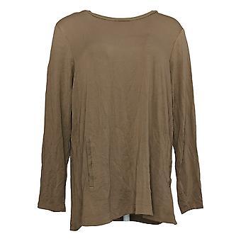 Susan Graver Women&s Top Weekend Regular Cozy Jersey Knit Brown A395006