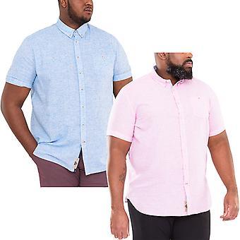 Duke D555 Mens Reid Big Tall King Size Button Up Summer Linen Shirt Top