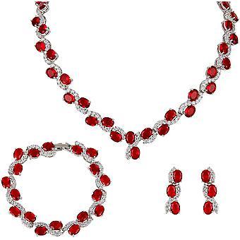 Wokex CZ Hochzeit Art Deco S-Formd Schmuck Set Silber-Ton rot N04960-1