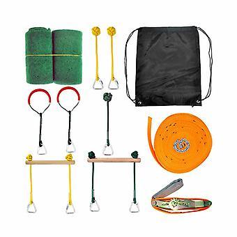 Ninja Obstacle Course Line Kit 12m Slackline 7 Hanging Obstacles 9 Buckles