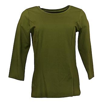 Bob Mackie Women's Top Scoop Neck 3/4 Sleeve Knit Green A293822