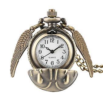 Elegant Golden  Pocket Watch Alice In Wonderland Necklace Chain