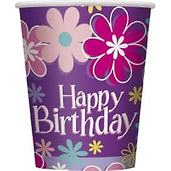 8 Gobelets en carton Happy Birthday
