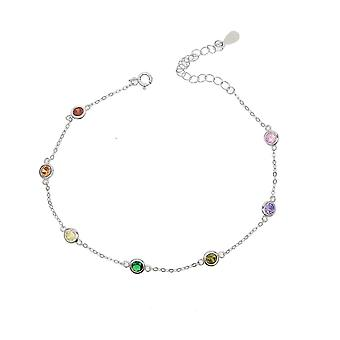 21+5cm Anklet 925 Sterling Silver Romantic Small Round Zircon Charm Anklet