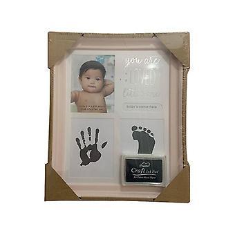 Cumpleaños de niños bebés, adornos recién nacidos con estampado de manos y pies, marco de fotos con