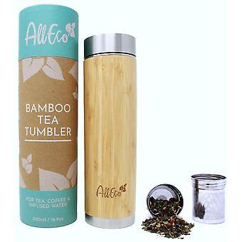 HanFei Teeflasche mit Sieb zu gehen 500ml Bambus doppelwandig   Teebereiter, Teebecher,