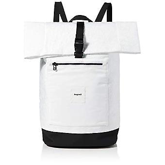 Desigual المنسوجة حقيبة ظهر كبيرة، امرأة على ظهره، أبيض، متوسط