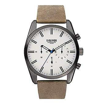 s.Oliver Men's Quartz Chronograph Watch with Leather Strap SO-3867-LC