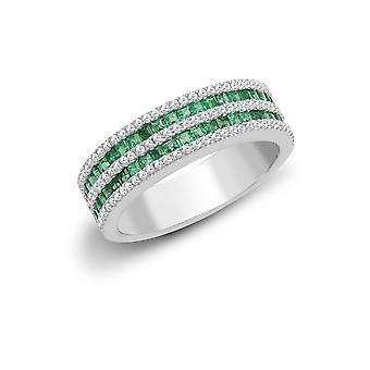 Jewelco London 18ct White Gold Channel 0.35ct Diamond and Princess Green 0.61ct Emerald Double Decker Eternity Ring 6mm
