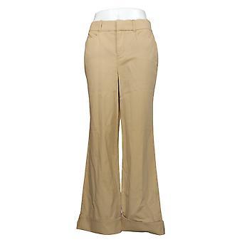 Martha Stewart Women's Pants Regular Chino Wide-Leg Cuffed Beige A354315
