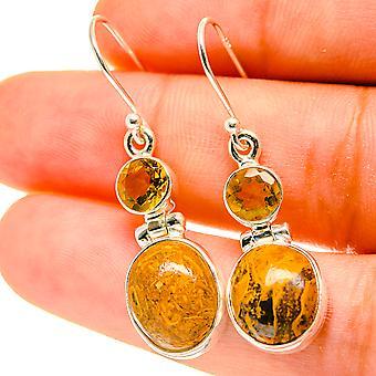"""Palm Wood Jasper, Citrine Earrings 1 1/2"""" (925 Sterling Silver)  - Handmade Boho Vintage Jewelry EARR417136"""