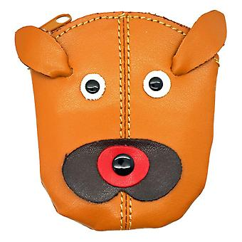 Small Genuine Leather Dog Face Zipped Purse