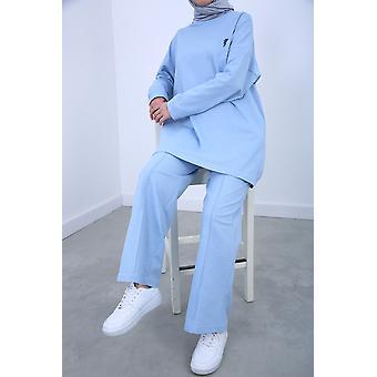Embroidered Elastic Waist Hijab Suit
