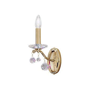 Clásico cristal vela lámpara de oro pulido, 1x E14
