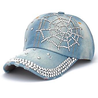 עכביש אינטרנט ריינסטון בייסבול כובע ג'ינס סנאפבק כובע כובע