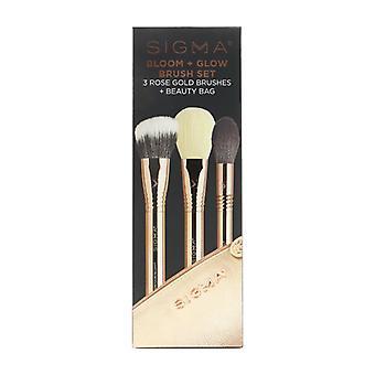 Sigma Beauty Bloom + Glow Brush Set (3x Rose Gold Brush  1x Bag) 3pcs