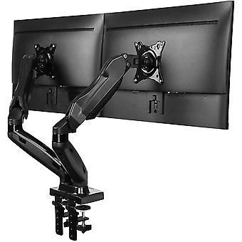 HanFei Dual Monitor Stand, Gas Spring Arm 360 Rotatable for 13 to 27 Inch Screens, 2 Mounting