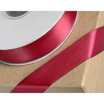 25m Burgundy 10mm Wide Satin Ribbon for Crafts