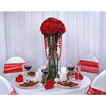 SISTE FÅ - 1m rød 18mm rund akryl krystallperle garland for dekorasjoner