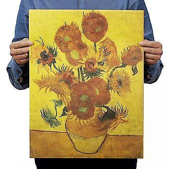 Aikakauslehdet van gogh auringonkukka vintage kraft paperi klassinen elokuvajuliste