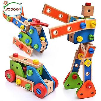 Wooden blocks 70pcs cartoon nut combination children hands on disassembly and disassembly geometric puzzle