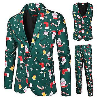 Jul Homemiyn Mäns Mörkgröna Jultryck Enknäppt Kostym Tredelad Kostym